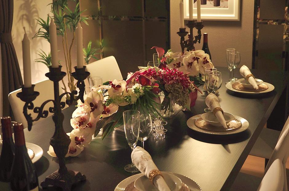 花をメインにしたテーブルコーディネート