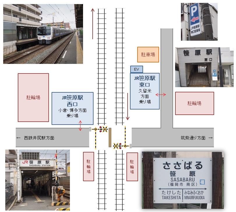 笹原駅の見取り図