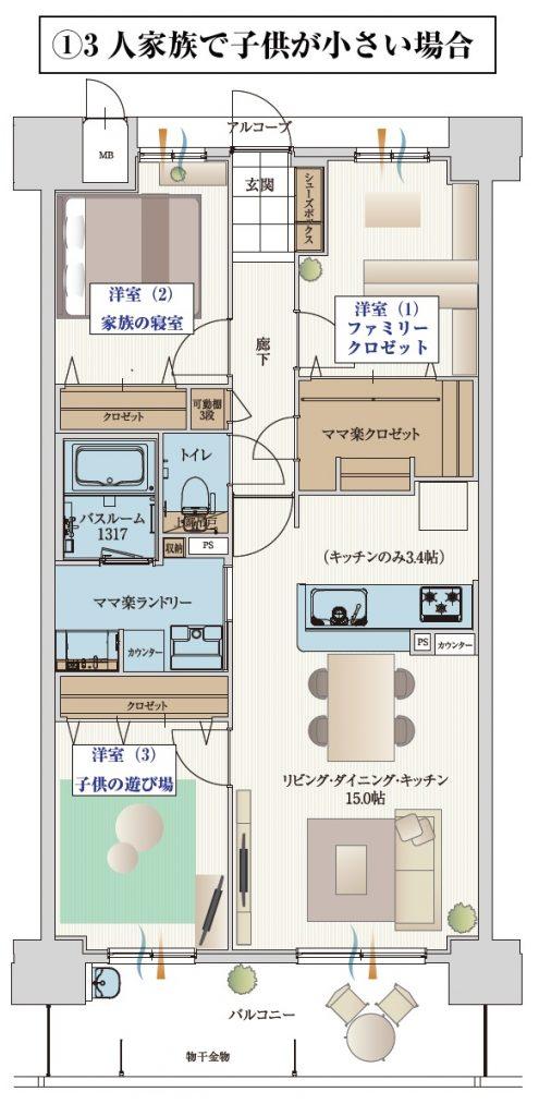 3人家族で子供が小さい場合の部屋の使い方