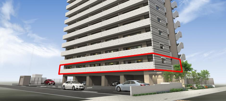 1階が駐車場などで、最下層が2階の場合についてご説明します