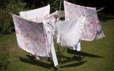 専用庭で洗濯物干し