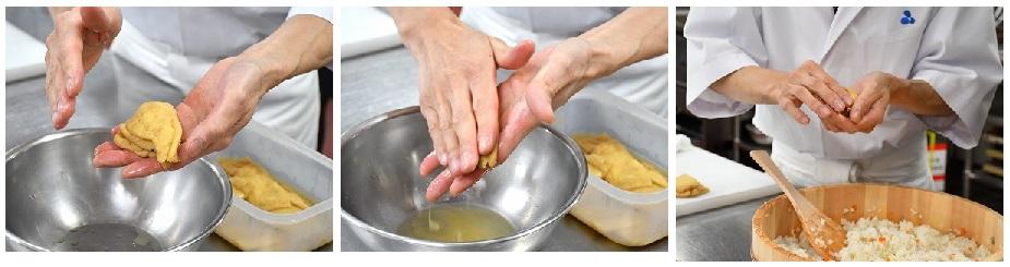 揚げを絞って酢飯を詰める様子