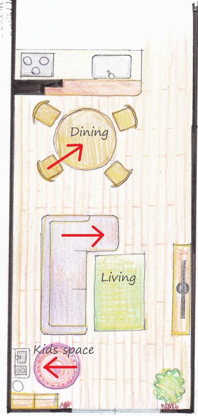 ソファ、ダイニングチェアの配置で視線をずらす