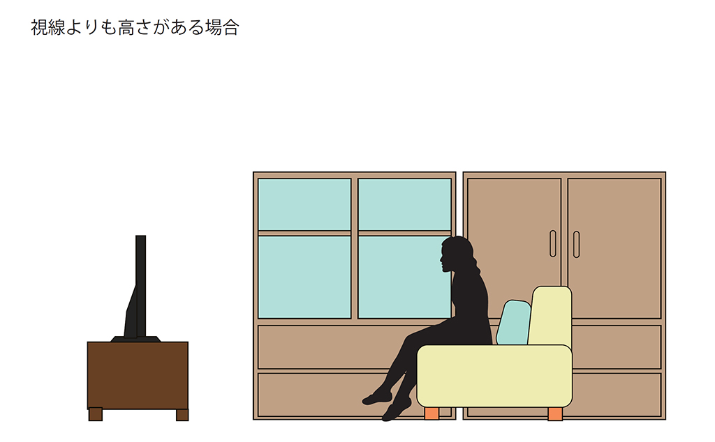 家具が視線よりも高い場合