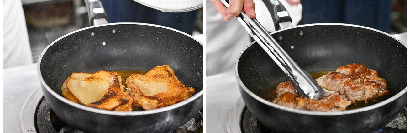 鶏もも肉を焼いている様子