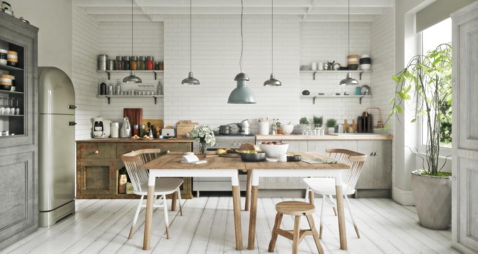 異素材を組み合わせたキッチンインテリア