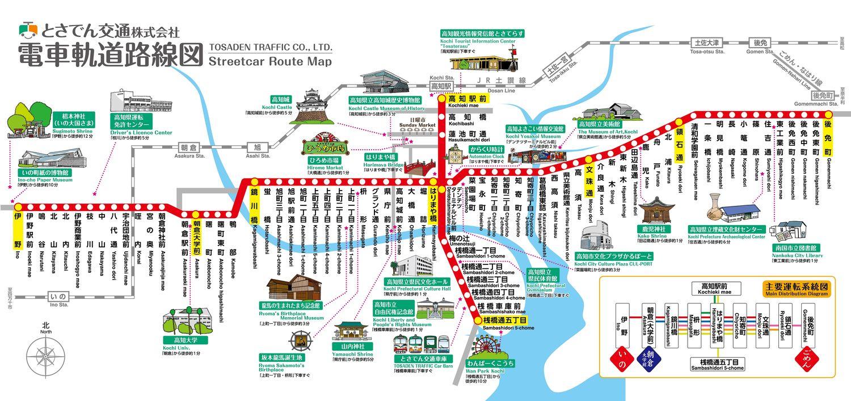 とさでん交通電車軌道路線図
