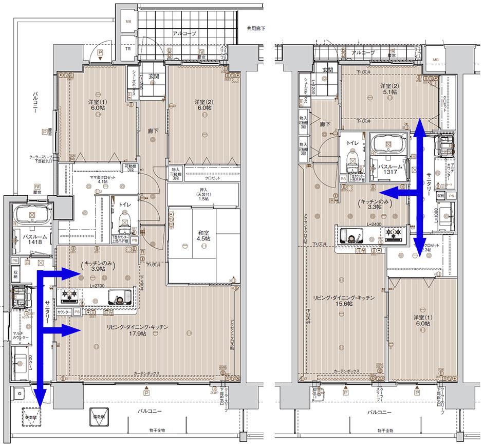 家事動線の良い水回りスペースの例